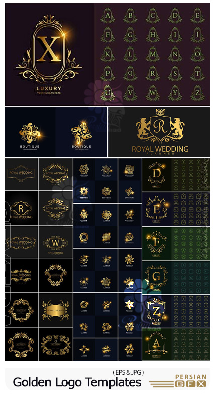 دانلود مجموعه آرم و لوگوی تزئینی حروف انگلیسی و طرح گل طلایی - Golden Logo Template