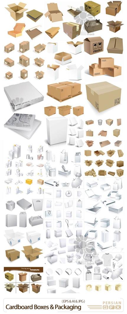دانلود مجموعه وکتور جعبه های مقوایی و بسته بندی - Cardboard Boxes And Packaging