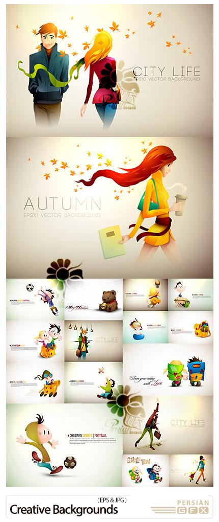 دانلود 30 بک گراند کارتونی خلاقانه برای طراحی کارت پستال های کودکانه - Creative Backgrounds