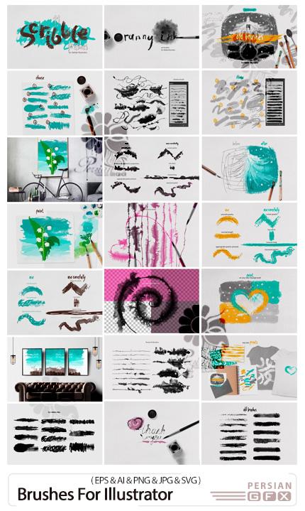 دانلود پک براش های ایلوستریتور متنوع خط خطی، قدیمی و جوهری - Brushes For Illustrator