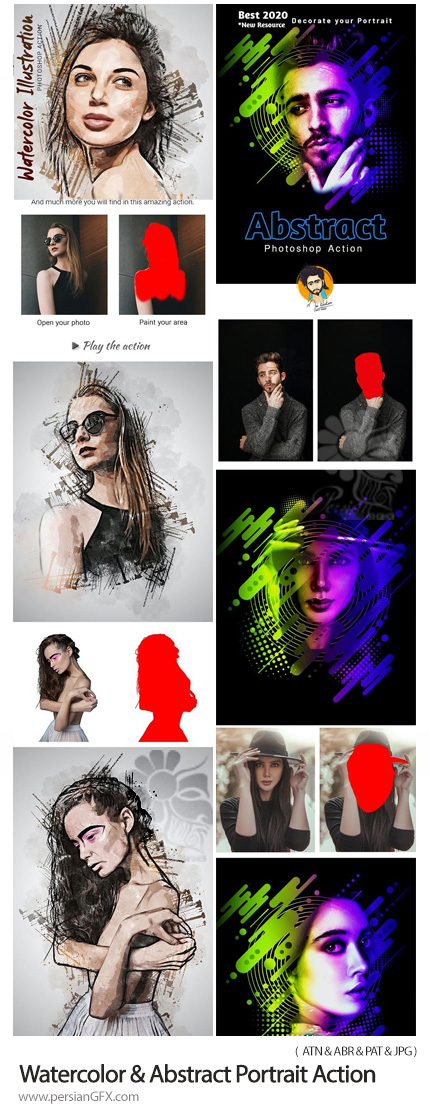 دانلود 2 اکشن فتوشاپ تبدیل تصاویر به نقاشی آبرنگی و پرتره انتزاعی - Watercolor And Abstract Portrait Action