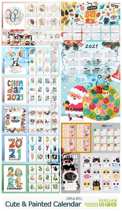 دانلود وکتور تقویم های دیواری و رومیزی 2021 با طرح های کارتونی - Cute Animals And Painted Calendar 2021