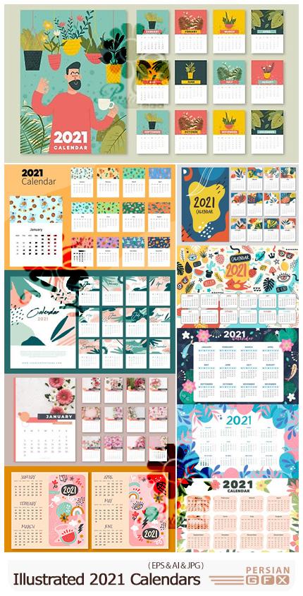 دانلود 10 وکتور طرح های فانتزی تقویم 2021 - Illustrated Calendars Templates