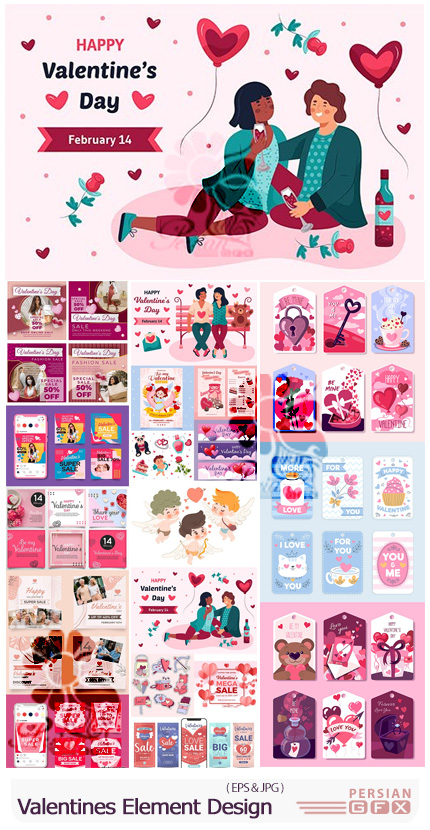 دانلود مجموعه وکتور پست اینستاگرام، بنر، لیبل و طرح های آماده ولنتاین - Valentines Day Element Design