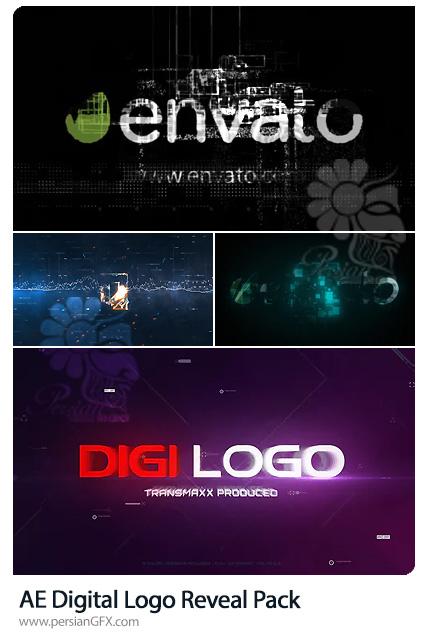 دانلود 4 پروژه افترافکت نمایش لوگو با افکت های دیجیتالی - Digital Logo Reveal Pack
