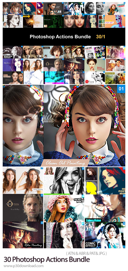 دانلود پک اکشن فتوشاپ با 30 افکت هنری متنوع - Photoshop Actions Bundle