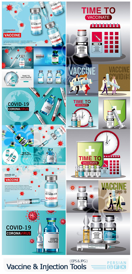 دانلود وکتور واکسیناسیون کرونا و واکسن کویید 19 - World Vaccine And Injection Tools