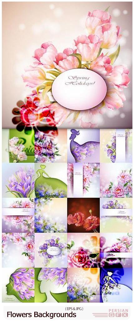 دانلود وکتور بک گراندهای گلدار تزئینی - Flowers Backgrounds