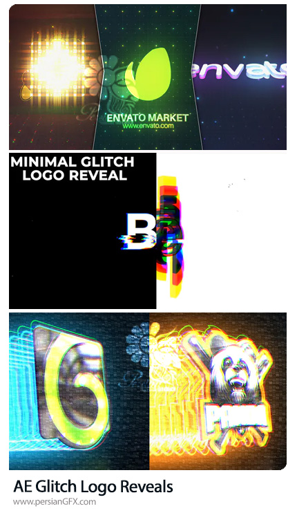 دانلود 3 پروژه افترافکت نمایش لوگو با افکت های متنوع گلیچ - Glitch Logo Reveals