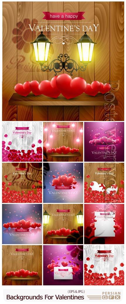 دانلود وکتور بک گراندهای ولنتاین با قلب و فانوس - Backgrounds For Valentines Day