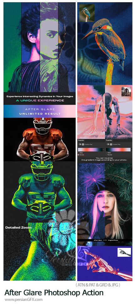 دانلود اکشن فتوشاپ ایجاد افکت گرادینت رنگی درخشان بر روی تصاویر به همراه آموزش ویدئویی - After Glare Photoshop Action