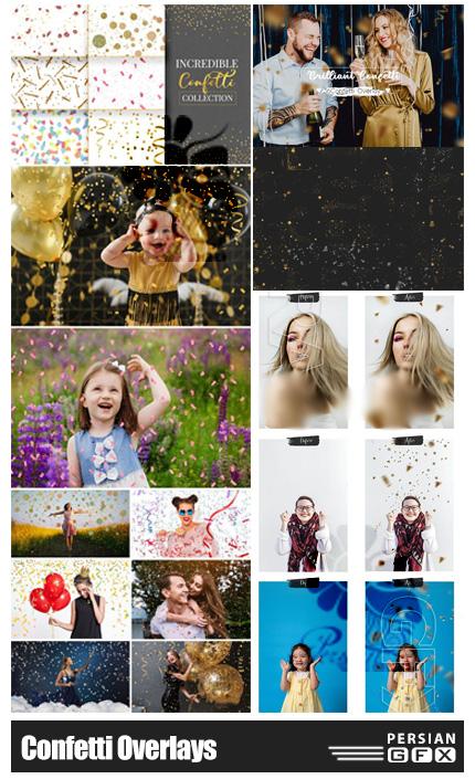 دانلود 56 تصویر پوششی عناصر تزئینی ابر و باد و کاغذ رنگی فانتزی - Confetti Overlays Collection