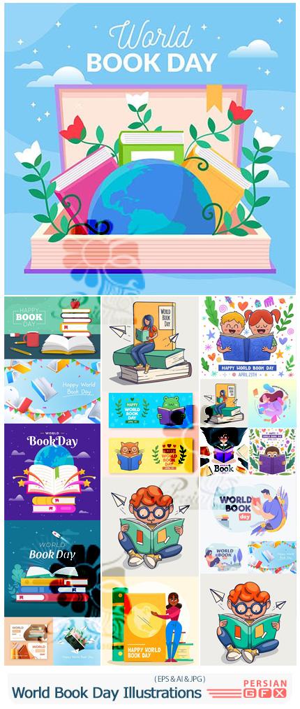 دانلود مجموعه وکتور طرح های کارتونی کتاب و کتابخوانی - World Book Day Illustrations