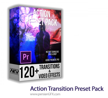 دانلود بیش از 120 ترانزیشن و افکت های ویدئویی برای پریمیر - Action Transition Preset Pack