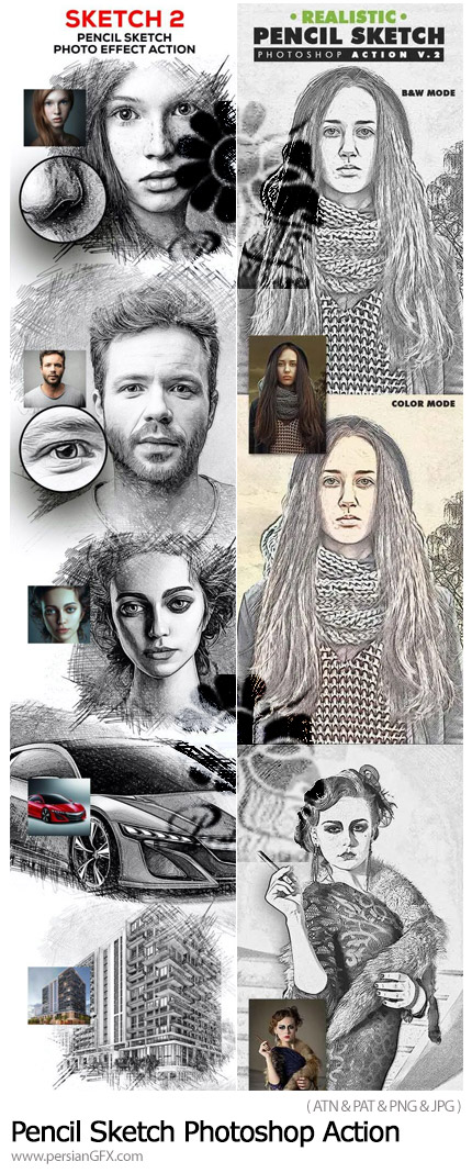 دانلود 2 اکشن فتوشاپ تبدیل تصاویر به نقاشی هنری اسکچ - Pencil Sketch Photoshop Action