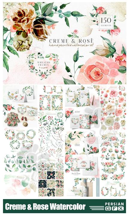 دانلود کلیپ آرت آبرنگی گل رز قرمز و کرم شامل فریم، پترن، گل و بوته و ... - Creme & Rose Watercolor Set