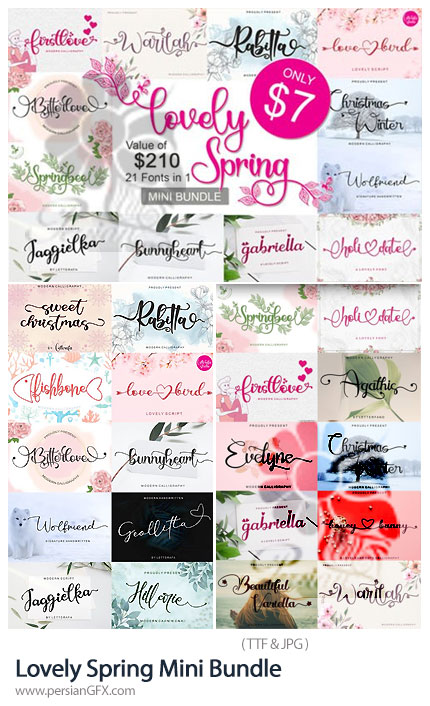 دانلود 21 فونت انگلیسی بهاری عاشقانه - Lovely Spring Mini Bundle