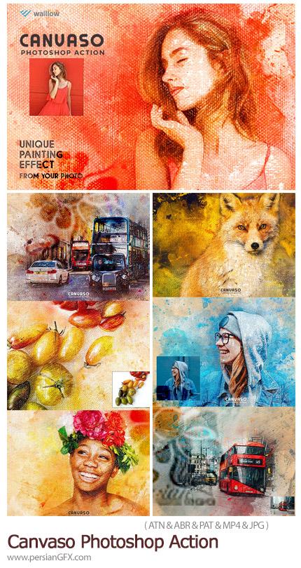 دانلود اکشن فتوشاپ تبدیل تصاویر به نقاشی روی بوم به همراه آموزش ویدئویی - Canvaso Photoshop Action