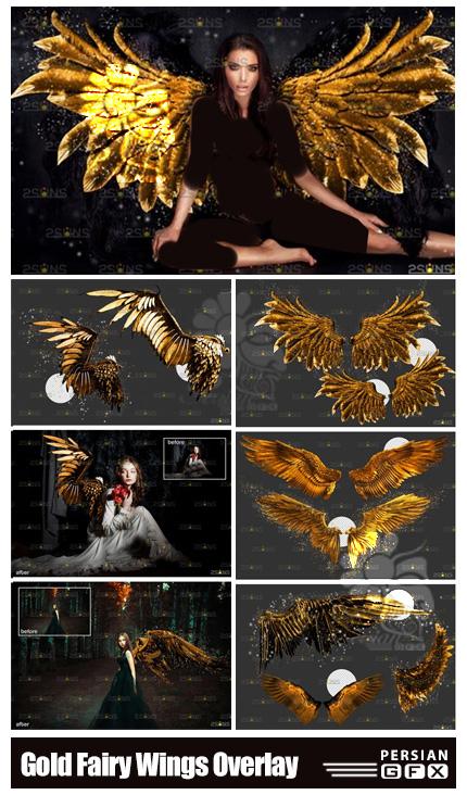 دانلود کلیپ آرت بال های طلایی فرشته - Gold Fairy Wings Overlay