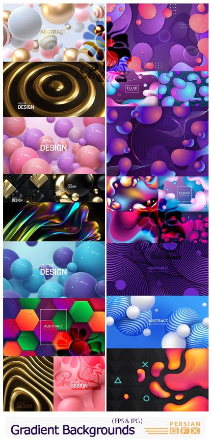 دانلود وکتور بک گراندهای انتزاعی با گرادینت های رنگی - Gradient Abstract Backgrounds