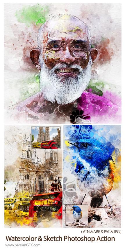 دانلود اکشن فتوشاپ تبدیل تصاویر به نقاشی آبرنگی و اسکچ - Watercolor & Sketch Photoshop Action