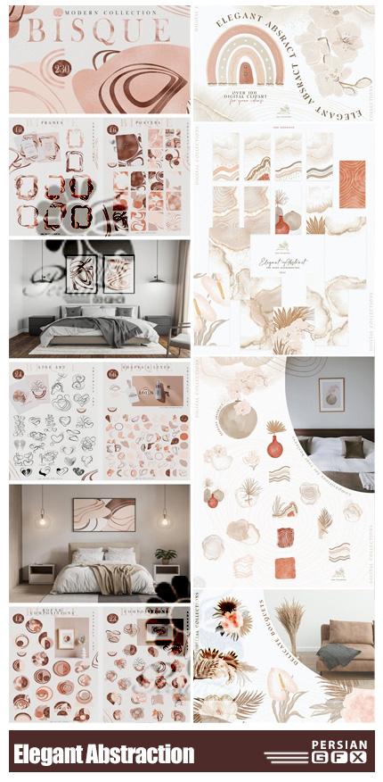 دانلود کلیپ آرت المان های تزئینی انتزاعی شامل فریم، شیپ، بک گراند و ... - Elegant Abstraction