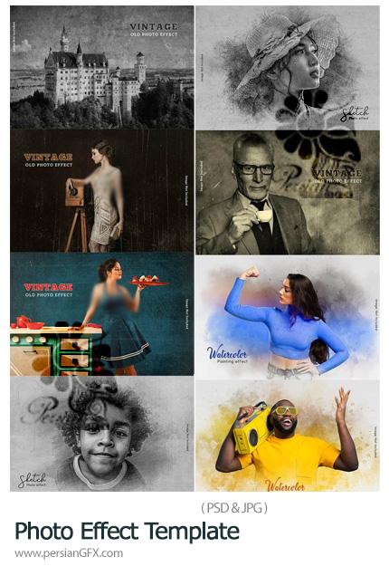 دانلود 8 افکت لایه باز اسکچ، آبرنگی و وینتیج - Photo Effect Template