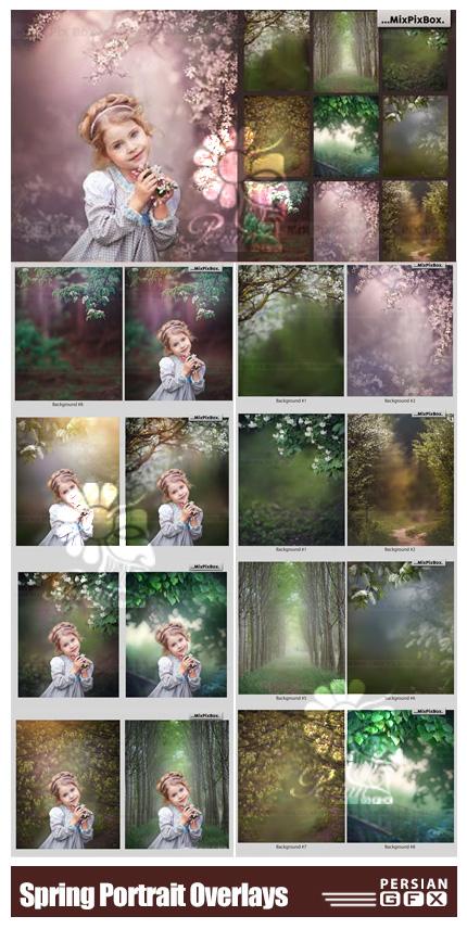 دانلود 9 بک گراند آتلیه ای باغ و گل های بهاری - Spring Portrait Overlays & Backgrounds