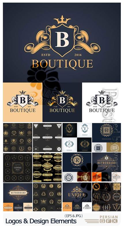 دانلود وکتور آرم و لوگوی تزئینی حروف انگلیسی - Logos, Badges And Design Elements