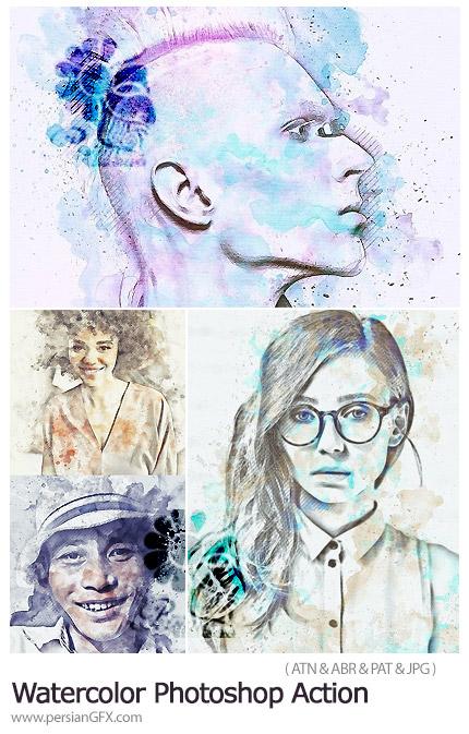 دانلود اکشن فتوشاپ تبدیل تصاویر به طرح آبرنگی - Watercolor Photoshop Action