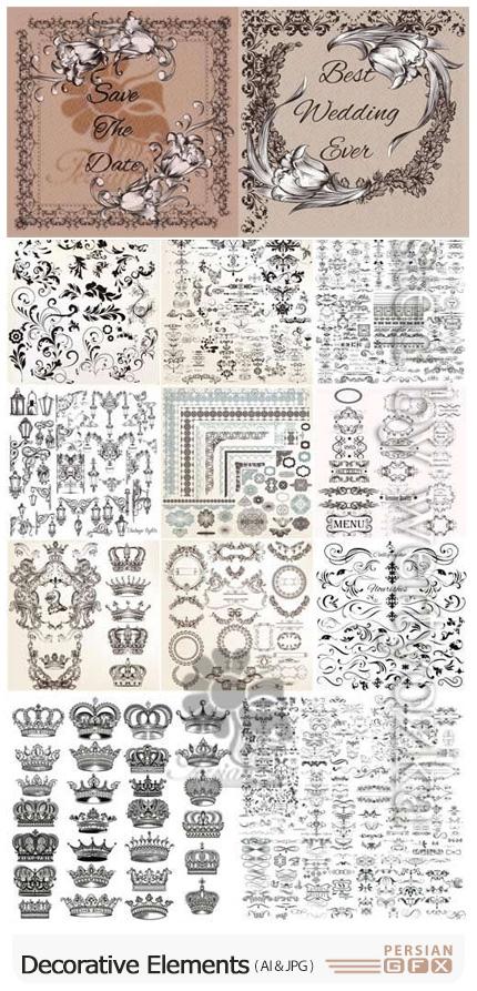 دانلود وکتور عناصر طراحی گلدار برای تزئین صفحات - Decorative Elements