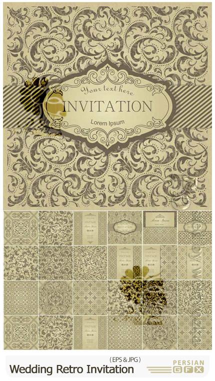 دانلود وکتور کارت عروسی رترو با طرح های گلدار - Wedding Retro Invitation Cards