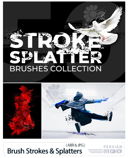 دانلود 50 براش فتوشاپ خطوط و اسپلش مایعات - Brush Strokes And Splatters