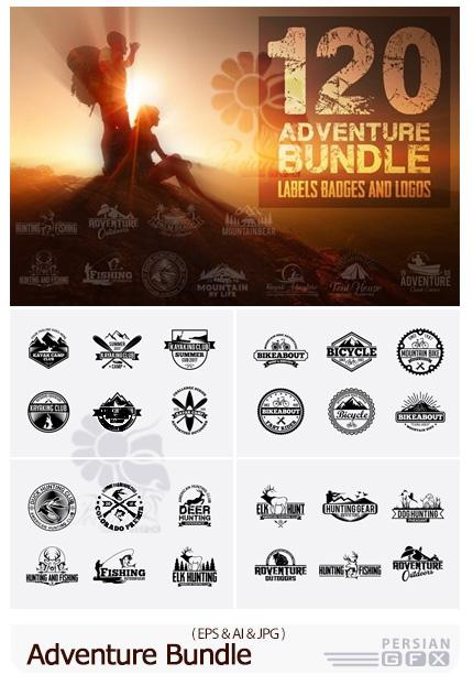 دانلود 120 وکتور لیبل، آرم و لوگو و نشان ماجراجویی، ماهیگیری، دوچرخه سواری و ... - Adventure Bundle