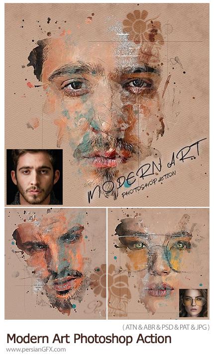 دانلود اکشن فتوشاپ ساخت طرح های هنری مدرن به همراه آموزش ویدئویی - Modern Art Photoshop Action