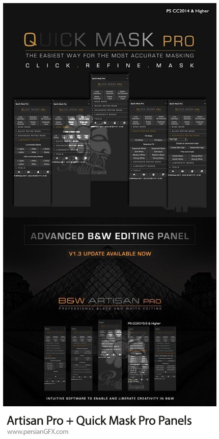 دانلود پلاگین فتوشاپ ماسک کردن سریع و ویرایش سیاه و سفید - BWVision Artisan Pro + Quick Mask Pro Panels