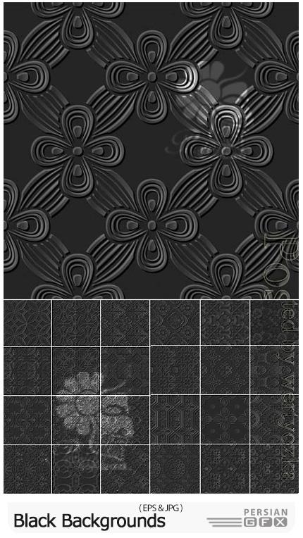 دانلود وکتور بک گراندهای مشکی با پترن سه بعدی - Black Backgrounds With 3D Patterns