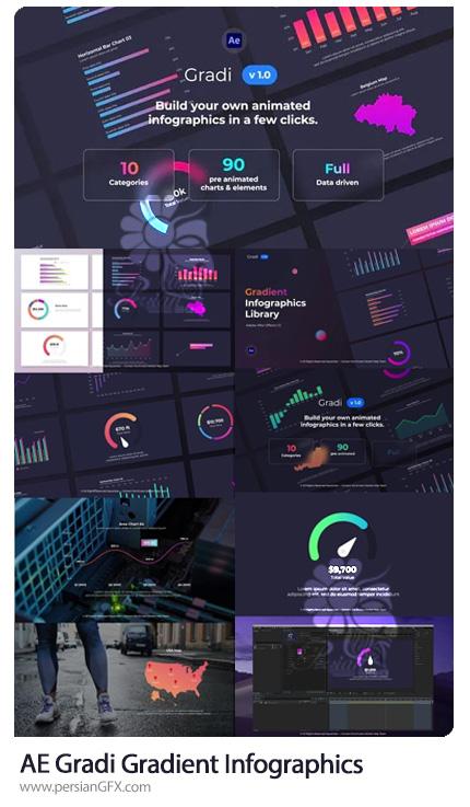 دانلود پروژه افترافکت نمودارهای اینفوگرافی با گرادینت رنگی - Gradi - Gradient Infographics