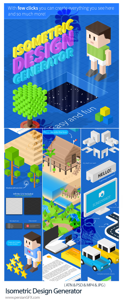 دانلود اکشن فتوشاپ ساخت طرح های ایزومتریک به همراه آموزش ویدئویی - Isometric Design Generator