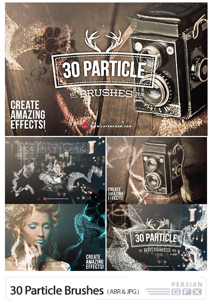 دانلود 30 براش فتوشاپ پارتیکل های درخشان - Particle Brushes