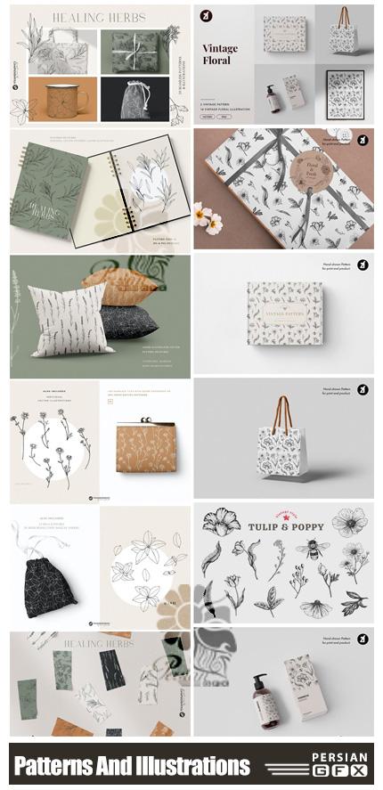 دانلود کلیپ آرت پترن و عناصر طراحی گلدار وینتیج - Patterns & Illustrations