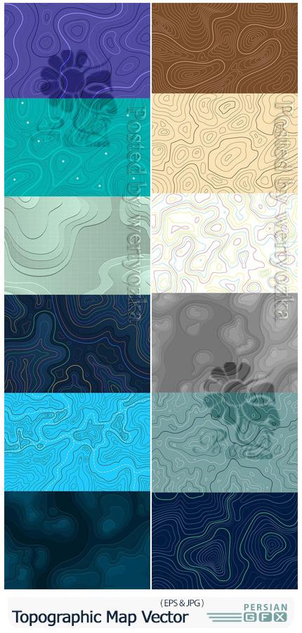 دانلود وکتور بک گراندهای نقشه توپوگرافی - Topographic Map Background