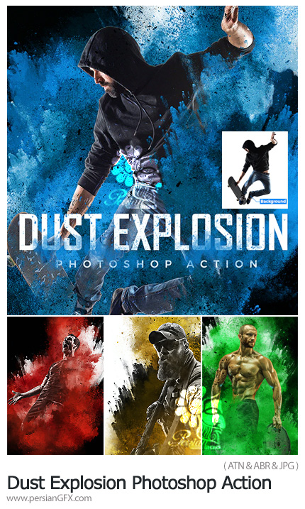دانلود اکشن فتوشاپ ایجاد افکت انفجار گرد و غبار بر روی عکس - Dust Explosion Photoshop Action