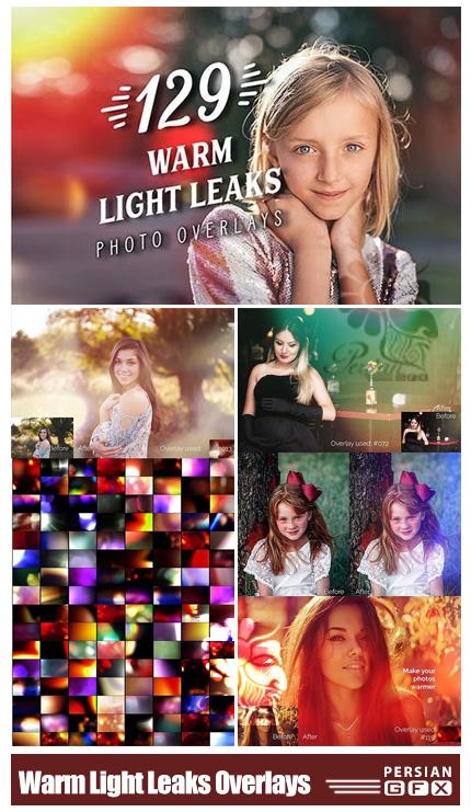 دانلود 129 تصویر پوششی انتشار نورهای گرم بر روی عکس - Warm Light Leaks Photo Overlays