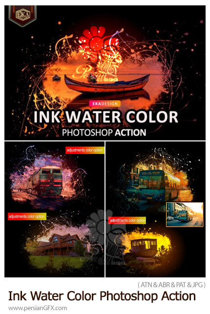 دانلود 2 اکشن فتوشاپ تبدیل تصاویر به طرح آبرنگی و جوهری - Ink Water Color Photoshop Action
