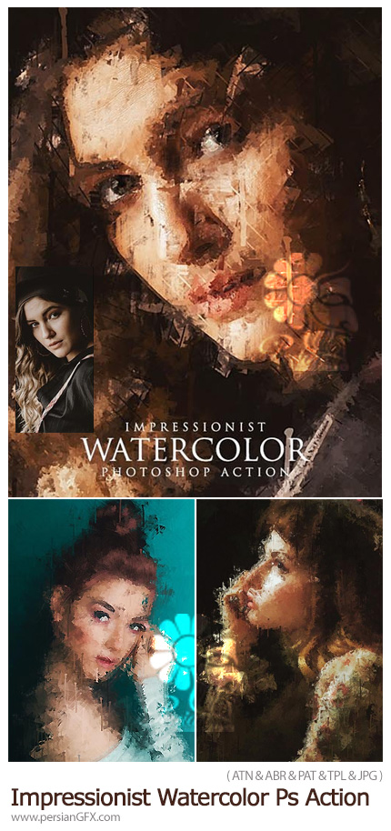 دانلود اکشن فتوشاپ نقاشی آبرنگی امپرسیونیست - Impressionist Watercolor Photoshop Action