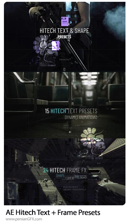 دانلود پریست افترافکت ساخت انواع افکت های متن - Hitech Text + Frame Presets