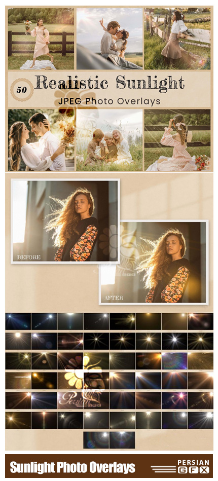 دانلود 50 تصویر پوششی تابش نور واقعی - Sunlight Photo Overlay