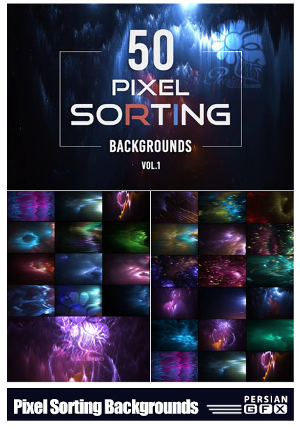 دانلود 50 بک گراند انتزاعی پیکسلی - Pixel Sorting Backgrounds