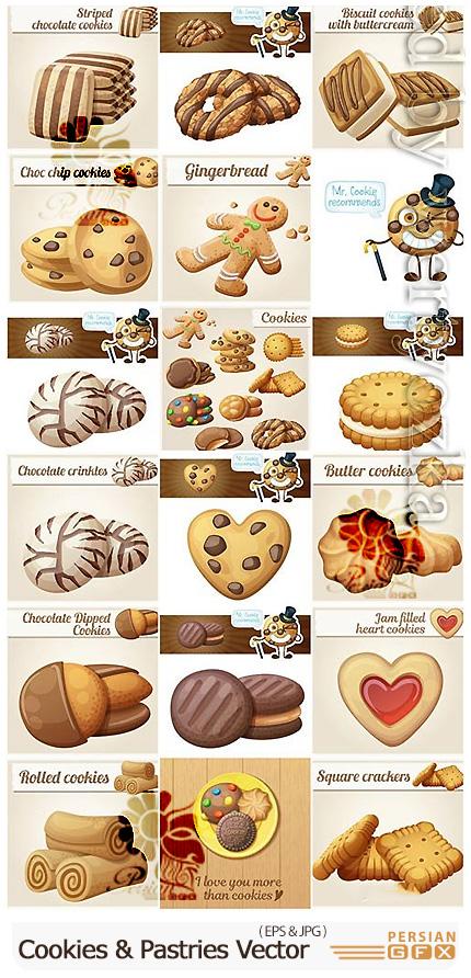 دانلود مجموعه وکتور بیسکوییت، کیک و شیرینی - Cookies And Miscellaneous Pastries